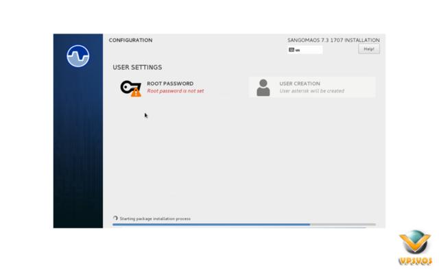 Installation Process Begins to install freepbx distro